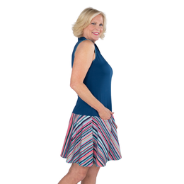 Hot Toddy Collection: Sleeveless Striped Drop Waist Dress