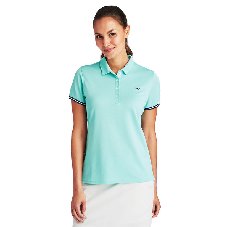 Vineyard Vines Short-Sleeve Solid Pique Polo Aqua Front