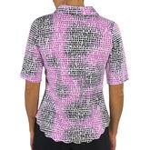 Jofit Scallop 1/2 Sleeve Pixel Print Top