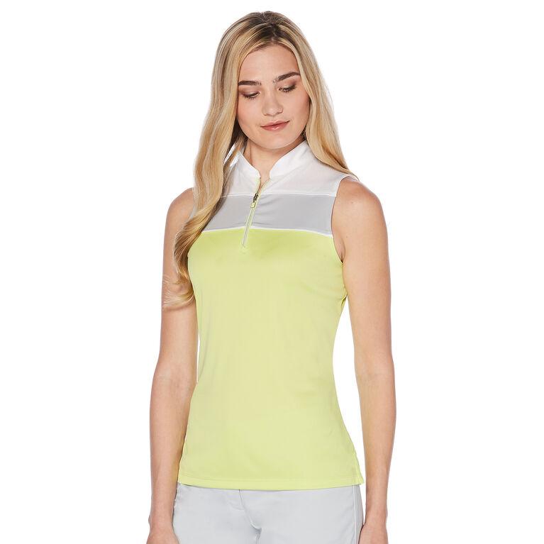 PGA TOUR Women's Sleeveless Mock Color Block Polo