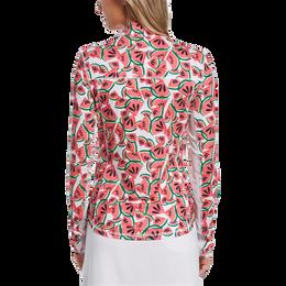 Watermelon Collection: Watermelon Print Long Sleeve 1/4 Zip Golf Shirt