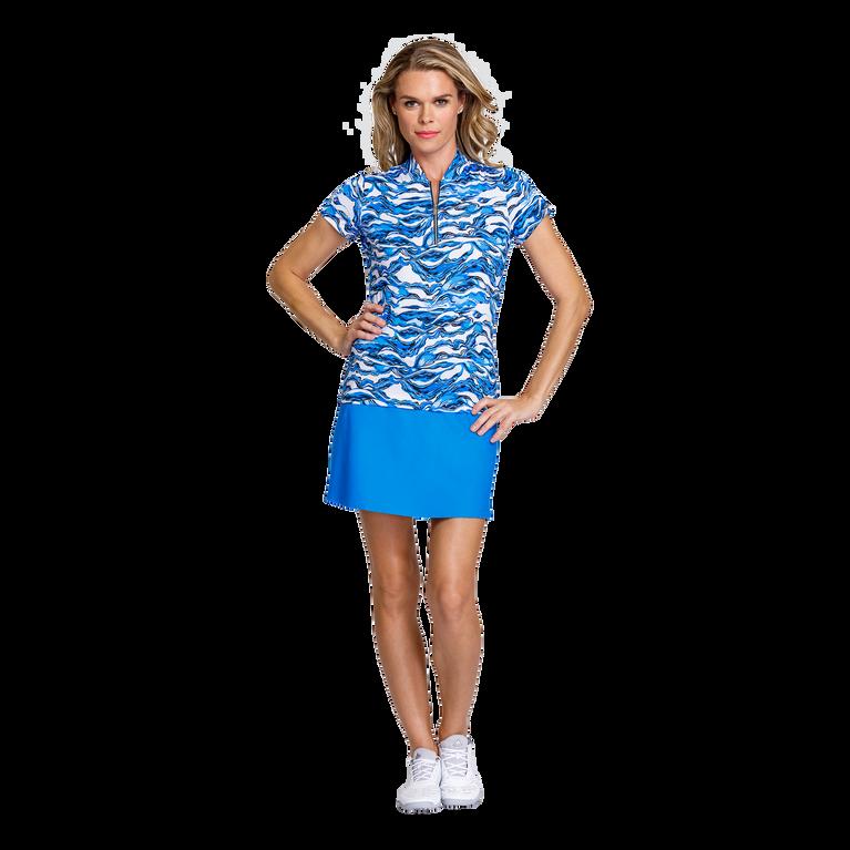 Pacific Vista Collection: Rosalie Short Sleeve Wavy Print Zip Top
