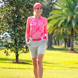 Pink Lady Collection: Half Sleeve Tropical Print Polo Shirt
