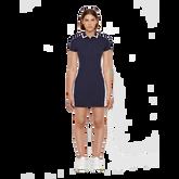 Short Sleeve Leona Trim Collar Dress Front