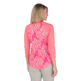 Alternate View 5 of Pink Lady Collection: Half Sleeve Tropical Print Polo Shirt