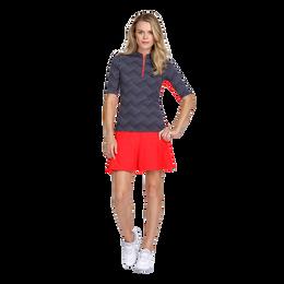 Palm Coast Collection: Callie Wave Dot Print Mock Golf Shirt