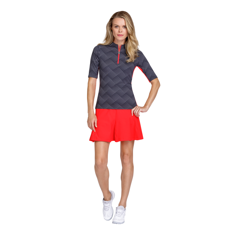 Palm Coast Collection: Callie Wave Dot Print Mock Golf Shirt