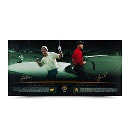 "Tiger Woods & Jack Nicklaus ""Masterful"" 36"" x 18"""