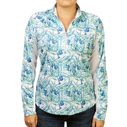 Swirlz Printed Quarter Zip Pull Over
