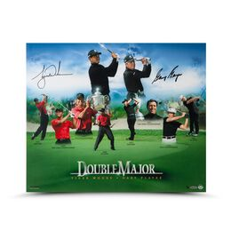 Gary Player/ Tiger Woods Autographed Double Major Photo