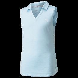 Girls Sleeveless Heather Polo Shirt