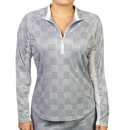 Houndstooth Printed Quarter Zip Pull Over