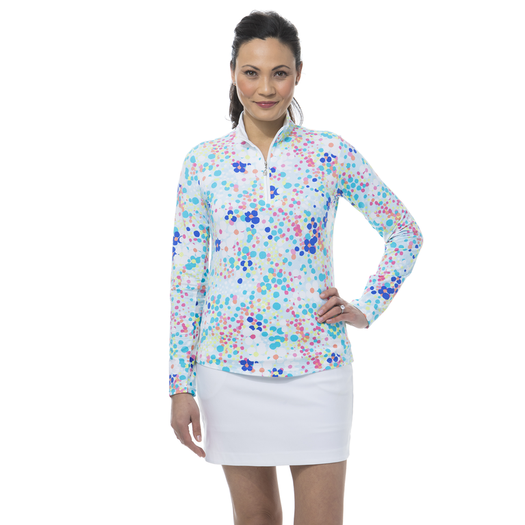 Flower Power Long Sleeve  Quarter Zip Pull Over