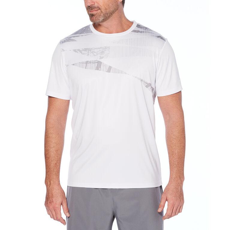Grand Slam Men's Short Sleeve Tech Tropical Printed Crew Neck T-Shirt