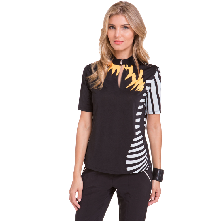 Oasis Collection: Short Sleeve Spiral Print Top