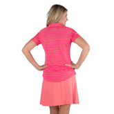 Alternate View 3 of Pink Lady Collection: Short Sleeve Striped Raglan Golf Polo