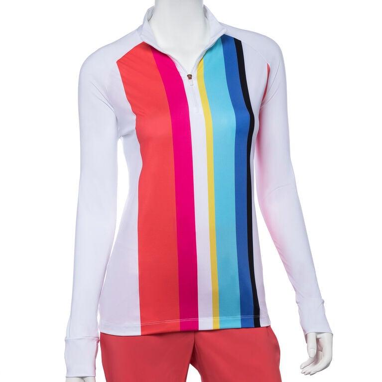 Shangri La: Long Sleeve Vertical Stripe Polo