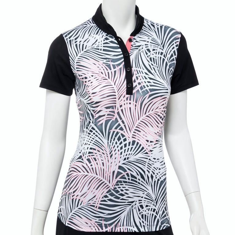 Cargo Chic Collection: Palm Frond Print Short Sleeve Polo Shirt
