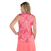 Alternate View 7 of Pink Lady Collection: Sleeveless Leaf Print Mock Shirt
