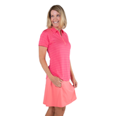 Alternate View 1 of Pink Lady Collection: Short Sleeve Striped Raglan Golf Polo