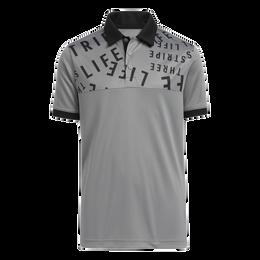 Boy's Three Stripe Life Print Primegreen Polo Shirt