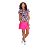 Paradise Collection: Neve Short Sleeve Zebra Mock Neck Zip Top