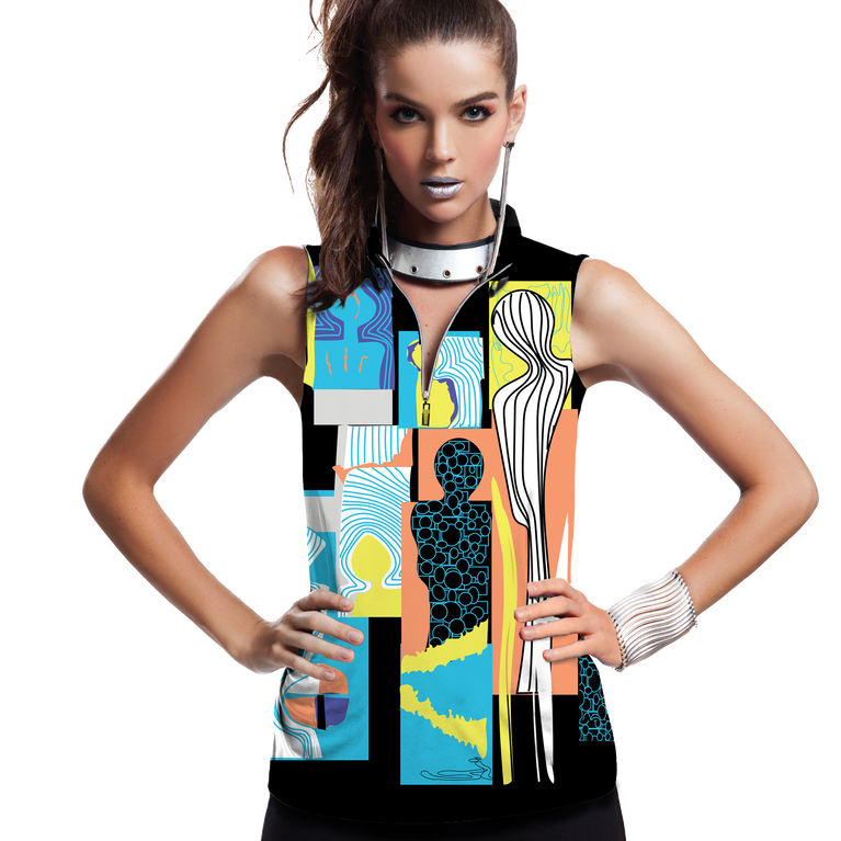 Casa Collection: Shiny Happy People Print Sleeveless Top