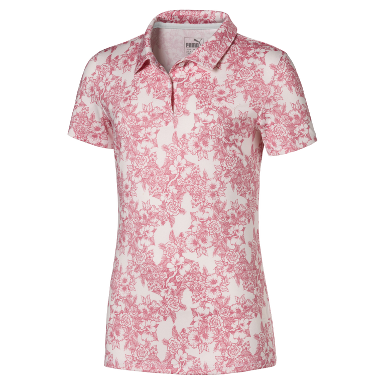 Girls Short Sleeve Floral Polo