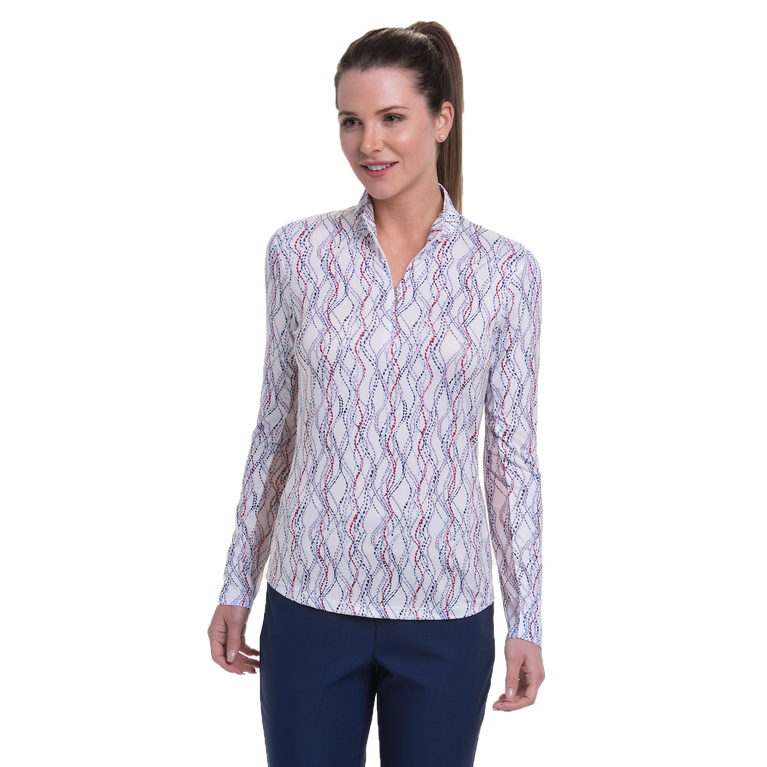 American Beauty Collection: Lattice Print Long Sleeve Quarter Zip Pull Over
