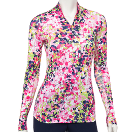 Soleil Collection: Long Sleeve Floral Print Quarter Zip Pull Over