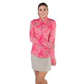Alternate View 5 of Pink Lady Collection: Long Sleeve Leaf Print Quarter Zip Pull Over