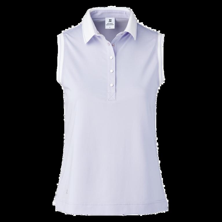 Milia Salvia Sleeveless Striped Collar Polo Shirt