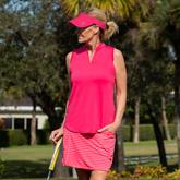 Pink Lady Collection: Sleeveless Cutaway Ruffle Mock Golf Shirt