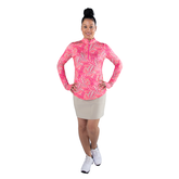 Alternate View 3 of Pink Lady Collection: Long Sleeve Leaf Print Quarter Zip Pull Over