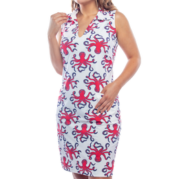 St. Regis Sleeveless Octopus Print Dress