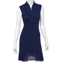 Sleeveless Dress w/ Mesh Pleat Hem Detail