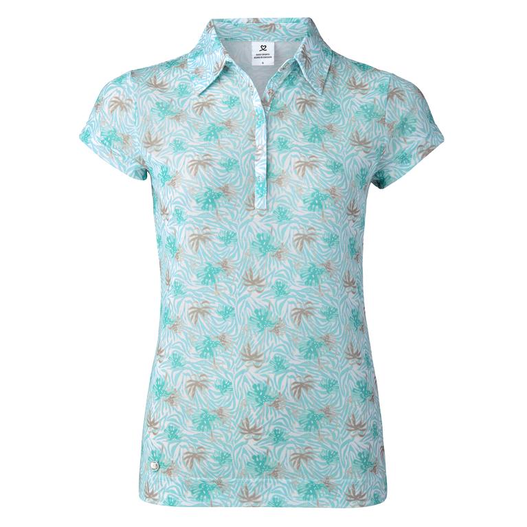 Tropical Sense Spearmint Collection: Printed Mesh Cap Sleeve Polo Shirt