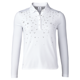 Almond Collection: Michaela White Long Sleeve Polo