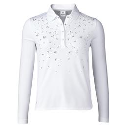 Almond Collection: Michaela White Long Sleeve Polo