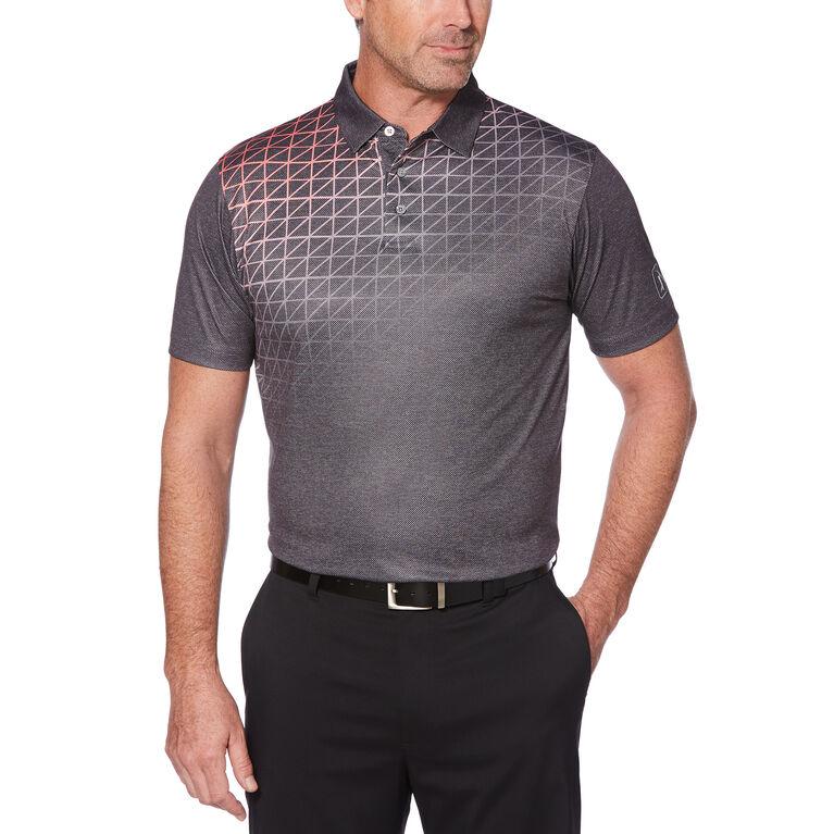 PGA TOUR Gradient Tech Windowpane Texture Print Polo