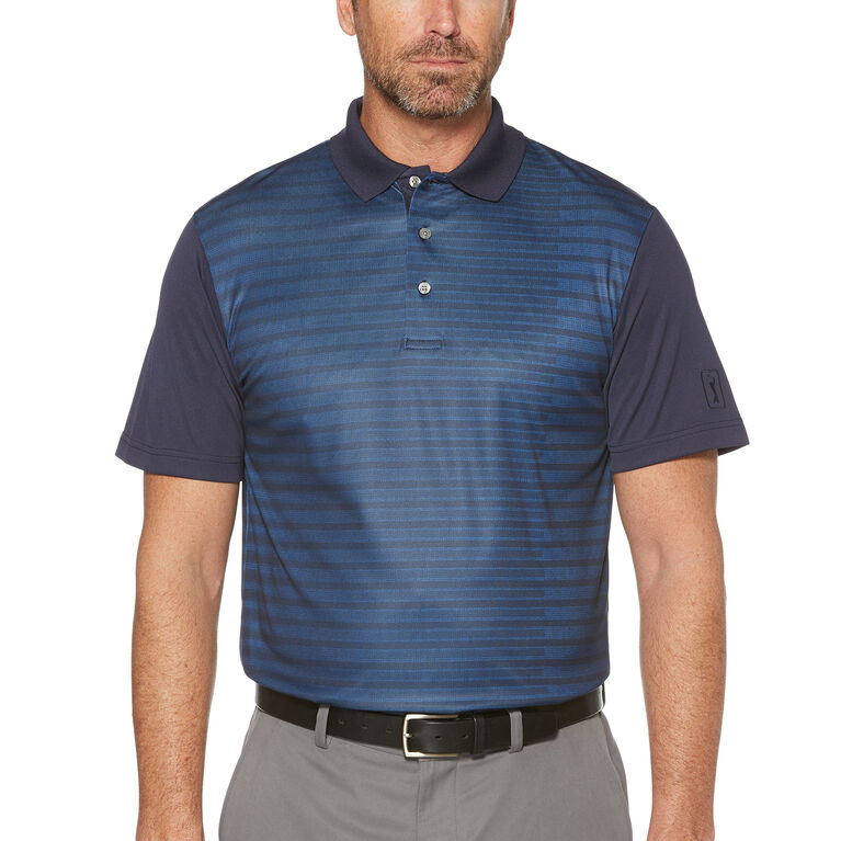 PGA TOUR Short Sleeve Steam Lined Texture Stripe Printed Polo