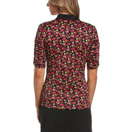 Ditsy Floral Collection: Funfetti Floral Print Short Sleeve Golf Polo