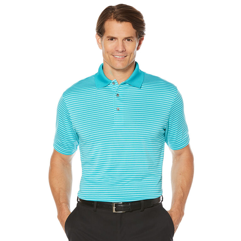 PGA TOUR Men's Golf Performance Short Sleeve Airflux Shadow Stripe Polo