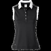Milia Sleeveless Striped Collar Polo Shirt