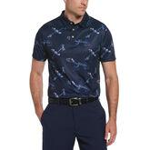 Linear Toucan Print Short Sleeve Golf Polo Shirt