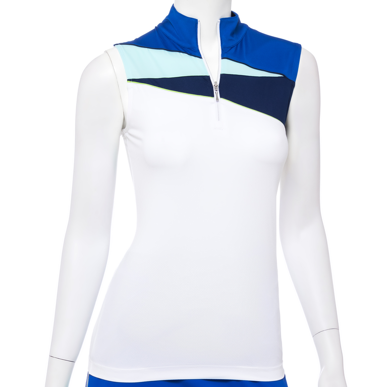 Out of the Blue Collection: Sleeveless Color Block Zip Mock Polo