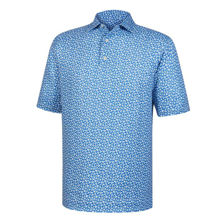 Lisle Floral Print Self Collar Polo