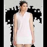 Sleeveless Mesh Striped Quarter-Zip Polo Shirt