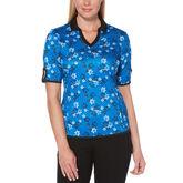 PGA TOUR Black and Blues Collection: Floral Print Half Sleeve Shirt