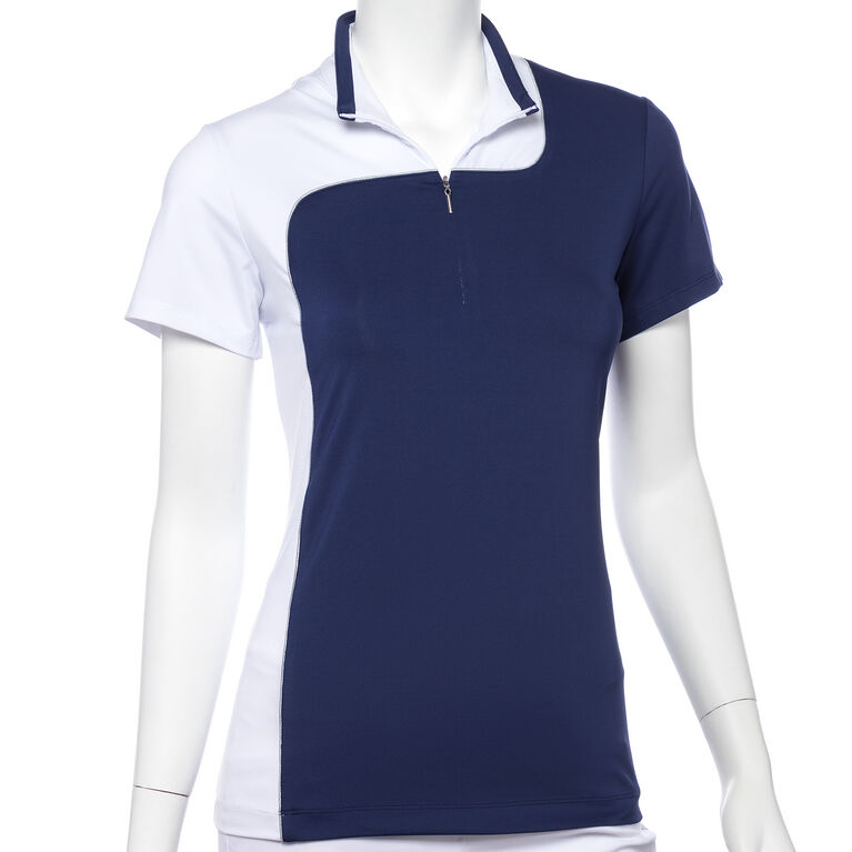 Silver Streak: Short Sleeve Curved Colorblock Polo